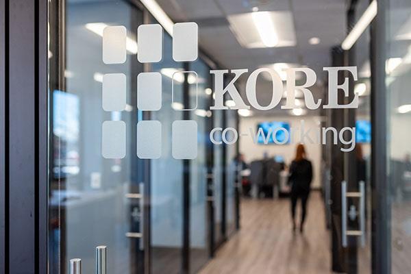 KORE co-working window pane